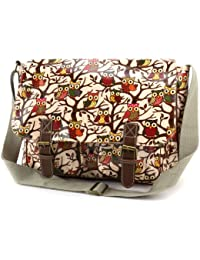 Anladia Grand Sac a Epaule Bandouliere Style Cartable en Toile Imprime Florale Neuf Abricot