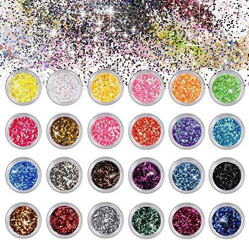 Nagel Glitzer für Gesicht Nägel Augen Lippen Haare Körper Make-Up Glitzer für Musik Festival Masquerade Halloween Party Clubs Weihnachten 24 Farben