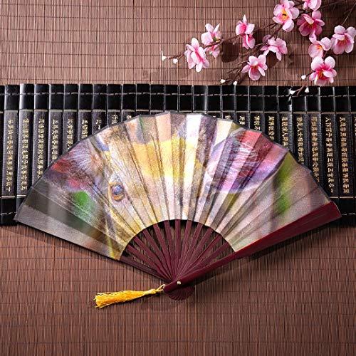 WYYWCY Kinder Hand Fan Deer gekleidet in Mode mit Bambusrahmen Quaste Anhänger und Stoffbeutel Hand gefaltete Fan Folding Hand Fan Big Japanese Fan