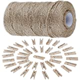 Anpro 320 Feet Natural Jute Twine Arts Crafts Gift Twine Christmas Twine Industrial Packing Materials Durable String for Gardening Applications -1 PC and Natural Wooden Clothespins-3.5 cm 50 Per Pack