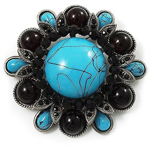 Turquoise pierre Broche de Corsage Floral (Ton Argent