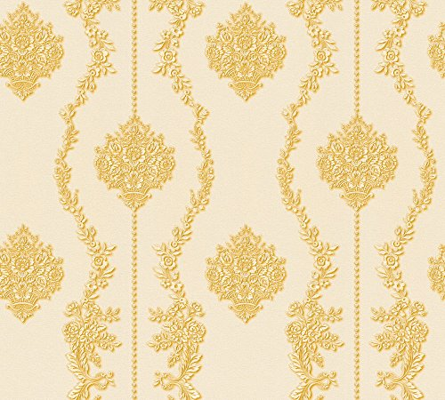 A.S. Création Vliestapete Chateau 5 Tapete mit Ornamenten barock 10,05 m x 0,53 m creme gelb metallic Made in Germany 344934 34493-4