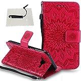 TOCASO Schutzhülle für Samsung Galaxy J5 2015 Hülle Briefcase PU Leder Tasche Flip Cover Case Verärgerter Bär Bunt tasche Lederhülle Handyhülle Schutz-Hülle Shell Schale Magnet -(Sonnenblume,Rot)