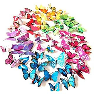 AWAKINK 72 Pcs 3d Butterfly Stickers Home Decoration DIY Removable 3d Vivid Special Man-made Lively Butterfly Art DIY Decor Wall Stickers for Wall Decor Kids Room Bedroom Living Room 6 Colors