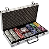 Ultimate Pokerset with 300 12 gram Metal Core laser chips, incl. 2x poker decks, aluminum poker case, 5x dice, 1 x dealer button, poker, set, poker chips, suitcases, tokens