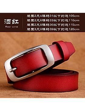 Cinturón de moda femenina hebilla de la aguja jeans con cinturón de cuero Rojo / B 115cm