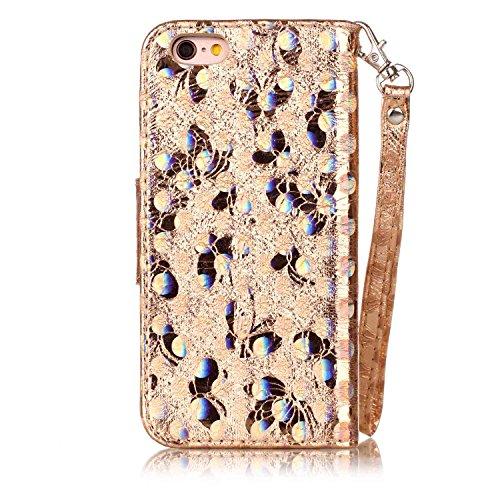Custodia per iPhone 6/iPhone 6s (4.7), EUWLY Alta Qualità Portafoglio Custodia in PU Pelle per [iPhone 6/iPhone 6s (4.7)] Retro Bello Bling Glitter Farfalla Modello Design Custodia Cover Con Cinturi Glitter Farfalla,Oro