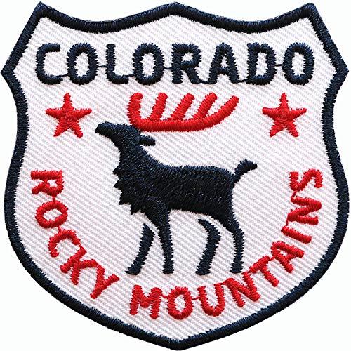 2 x Colorado USA Abzeichen gestickt 60 x 60 mm / Rocky Mountains Amerika Outdoor Trekking Reise / Applikation Aufnäher Aufbügler Flicken Sticker Patch / Reiseführer Buch Karte Camping Wohnmobil