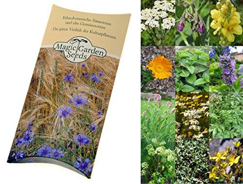Saatgut Set: '12 traditionelle europäische Heilpflanzen', besondere Kräutersorten der Volksmedizin als Samen zur Anzucht für den Garten in schöner...