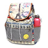 #7: BRANDX Imported Designer Collectionz with Smiley Badge fashionable light weight double layer Canvas Backpack Cute Travel School College Shoulder bag for Teenage Girls/Students/Women/ Girls
