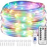 Lepro Multi gekleurde Outdoor Touw Lights, 10M 100 LED RGB Sensory Lights Slaapkamer, Laagspanning USB Aangedreven, Timer en