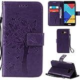 Ooboom® Samsung Galaxy A3 2016 Coque Motif Arbre Chat PU Cuir Flip Housse Étui Cover Case Wallet Portefeuille Support avec Porte-cartes pour Samsung Galaxy A3 2016 - Violet