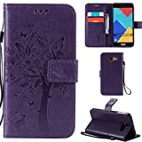 Ooboom® Samsung Galaxy A3 2016 Case Cat Tree Pattern PU Leather Flip Cover Wallet Stand with Card/Cash Slots Packet Wrist Strap Magnetic Clasp for Samsung Galaxy A3 2016 - Purple
