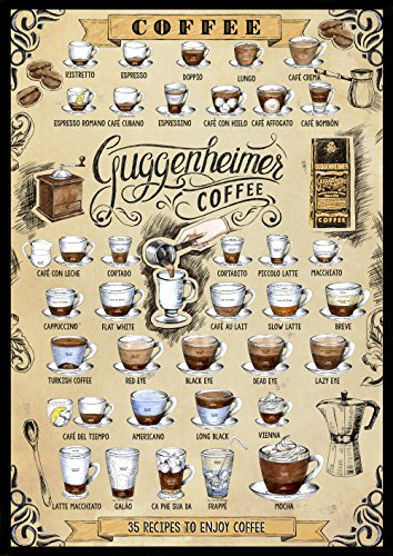 Kaffee Poster - 35 Kaffee Rezepte - '35 recipes to enjoy coffee' - Bild Kunstdruck 50 x 70 cm -...