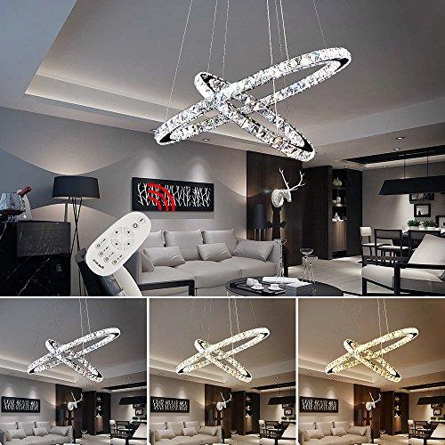 HG® 64W LED Deckenlampe Dimmbar Voll 180V-265V 50HZ Kronleuchter 2-Ring einstellbar 6400-7040LM Kristall Hängeleuchte -