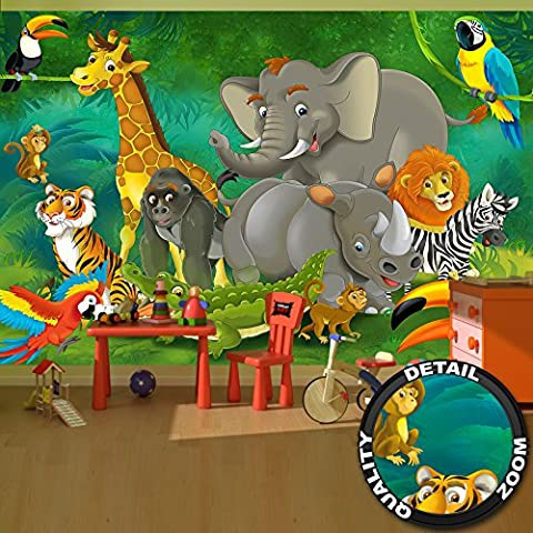 Wall Mural Kid's Room Jungle Animals Mural Decoration Jungle Animals Zoo Nature Safari Adventure Tiger Lion Elephant Monkey I paperhanging Wallpaper poster wall decor by GREAT ART (132.3 Inch x 93.7 Inch / 336 x 238