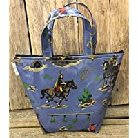 Insulated Lunch Bag,school Bag,lunch Tote,cool Bag,picnic Bags,blue cowboys and indians Oilcloth …