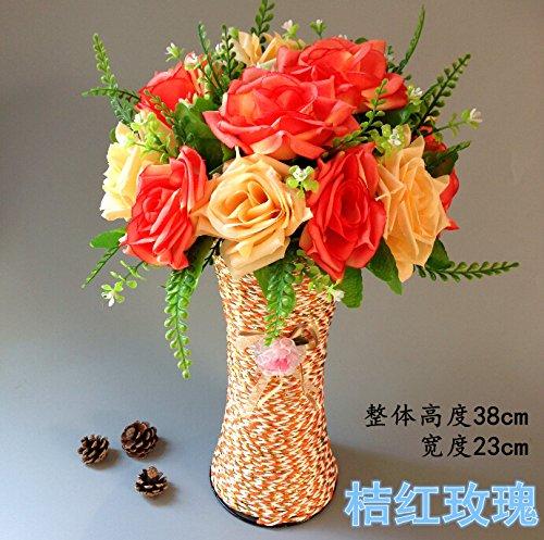 Lx.AZ.Kx La Rose Fiori artificiali di emulazione Kit fiore decorate Soggiorno con tavolo da pranzo trascorrere tavolino, collocare la composizione floreale di filatura della seta piccoli vasi,Arancione Rosa Rossa