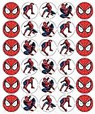 30 Cialde commestibili per decorare cupcake, motivo: Spiderman