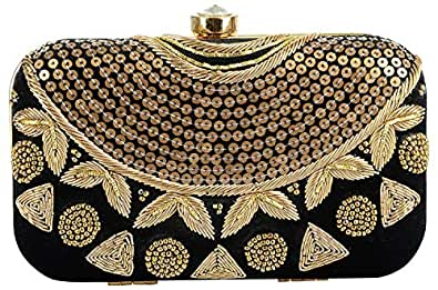 Tooba Women's Box with Sequence Clutch (black sequence necklace 6x4, Black)
