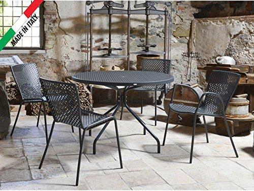Tavoli Metallo Per Esterno.Set Tavolo Tondo Estate D 110 Con 4 Sedie Metallo Antracite Da