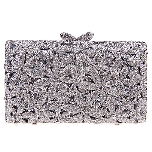 Bonjanvye Glitter Floral Sakura Purses and Handbags for Girls Wedding Party Dress Bag AB Red Silver
