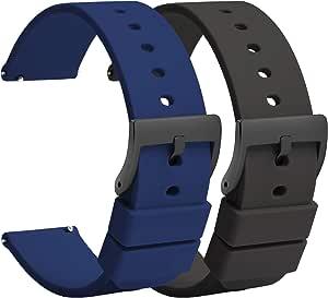 (2 pièces) TStrap Montre Bracelets Silicone 20mm - Bracelet de Montre à Dégagement Rapide Caoutchouc Noir Bleu Hommes Femmes Sport - Bracelets de Montres étanche pour Smartwatch - 18mm 22mm