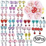 Defrsk Kinder Mädchen Ohrclips Box 28 Paar Clip auf Ohrringe Mädchen Spielen Ohrringe Prinzessin Schmuck mit Verschiedenen Design mit 4 Clear Box für Party Favors