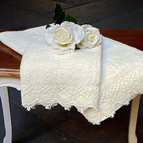 Handtuch und Gästetuch Landhaus Shabby Chic - Spitze - 60x100 + 40x60 - Off White - 100% Baumwolle (Spitze Handtuch)