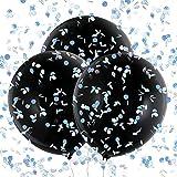 Konsait 3 Palloncino grande 36'' Nero Palloncini in Lattice con Coriandoli rosa, blu e Colorati per festa baby shower Genere Reveal compleanno battesimo Bambino Doccia Decorazione