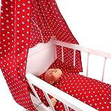 Sugarapple 4-Teiliges Set für Puppenwiegen Bestehend aus Himmel, Kissen, Bettdecke, Matratze aus Baumwolle Hergestellt in Deutschland, Rot mit weißen Sternen