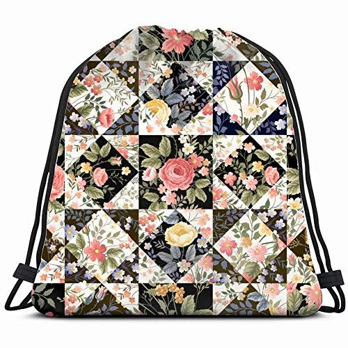 fjfjfdjk Patchwork Flowers Drawstring Backpack Gym Sack Lightweight Bag Water Resistant Gym Backpack for Women&Men for Sports,Travelling,Hiking,Camping,Shopping Yoga -