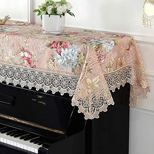 Contactsly-home Klaviertuch für Klavier und Klavier-Überzug, Bestickt, mit Spitze, staubdicht, europäischer Stil, maschinenwaschbar, Stoff, Rose, 90x200cm