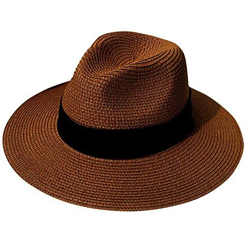 0dc97f7b8ec95 DRESHOW Mujeres de ala ancha Straw Summer Panama Roll up Sombrero Fedora  Beach Sun Hat UPF50