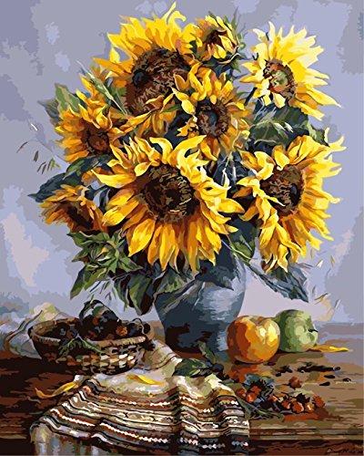 Tirzah Malen nach Zahlen mit 3X Bildschirmlupe 40 x 50cm DIY Leinwand Gemälde für Erwachsene und Kinder, Enthält Acrylfarben und 3 Pinsel (Vintage Sonnenblume, Holzrahmen)