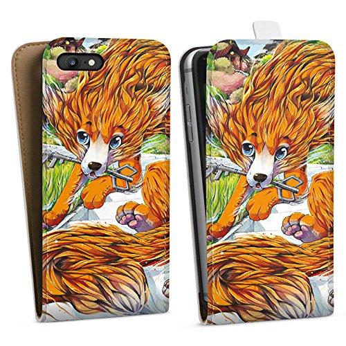 Apple iPhone X Silikon Hülle Case Schutzhülle Fuchs Zeichnung Orange Downflip Tasche weiß