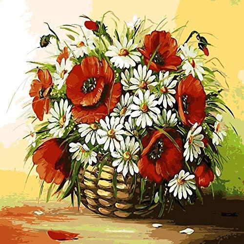 zlhcich Digitale malerei palast Blume Landschaft Wohnzimmer Dekoration malerei System Q004-5 rahmenlose 40 cm * 50 cm (Digital-nagel-kunst-maschine)