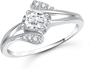 Meenaz Love Ring Valentine Gifts Silver Ring Fancy Party Wear In American Diamond Cz Ring For Girls & Women FR417