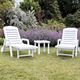 Resol Palamos Folding Sun Lounger - White Plastic - Pack of 2 Loungers
