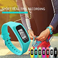 LIGHTER HOUSE Silicon and Metal Digital LCD Pedometer Run Step Compass Multifunction Calorie Counter Bracelet Sport Smartwatch (Black)