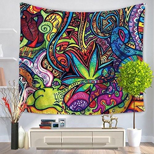 GWELL Wandteppich Psyschedelic Art Wandbehang Bohemian Hippie Tischdecke Tapestry Strandtuch Wandtuch Zimmer Deko Muster-D 150*200cm