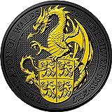 DRAGON Queen Beasts Golden Ruthenium 2 Oz Silver Coin 5£ United Kingdom 2017