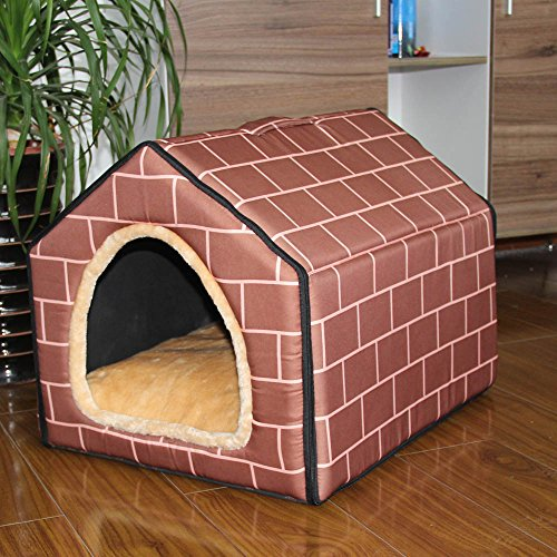 ZPP-Winter dog house Wo washable yurt tent small nest House dog and cat Queen,Wall color,L