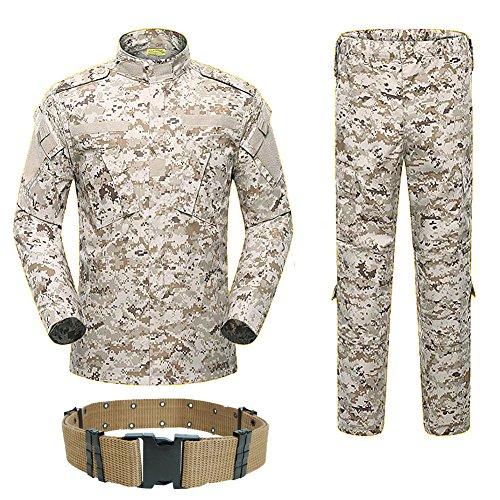 H Welt EU Military Tactical Herren Jagd Combat BDU Uniform-Shirt und Hose mit Gürtel XL Desert Digital -