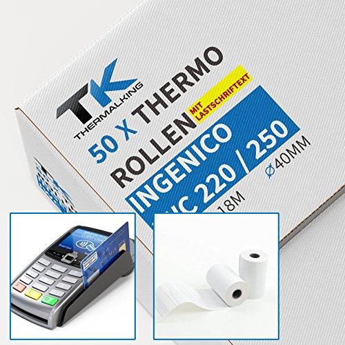 50 x EC Cash Thermorollen mit Lastschrifttext | B: 57mm – DM: 40mm - Kern DM: 12mm – L: 18m für Ingenico ict220 ict250 iwl250 und alle anderen EC-Cash-Thermodrucker (Thermische Kreditkarte Papier)
