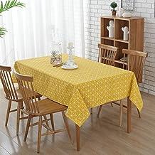 Amarillo Mantel Enrejado -G.G.G. Tela de tabla antideslizante del algodón del poliester Cubierta simple de la tabla de la manera multiusos Tamaño grande