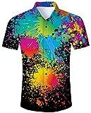 Goodstoworld Camicia Hawaiana da Uomo Estiva Fiori Tropicale 3D Stampa Manica Corta Chicco Trekking Camicie Shirt Nero