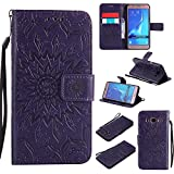 For Samsung Galaxy J5 2016 Case [Purple],Cozy Hut [Wallet Case] Magnetic Flip Book Style Cover Case ,High Quality Classic New design Sunflower Pattern Design Premium PU Leather Folding Wallet Case With [Lanyard Strap] and [Credit Card Slots] Stand Function Folio Protective Holder Perfect Fit For Samsung Galaxy J5 2016 / SM-J510 5,2 inch - purple