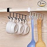 Alliebe 2St Becher Becher Weingläser Lagerung Haken Küchenutensilien Krawatten Gürtel und Schal hängen Haken Rack Halter Unterschrank Schrank ohne Bohren (weiß und schwarz)
