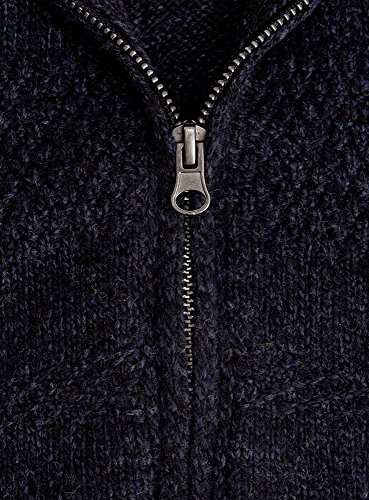 oodji Ultra Herren Cardigan mit Reißverschluss Blau (7900M)